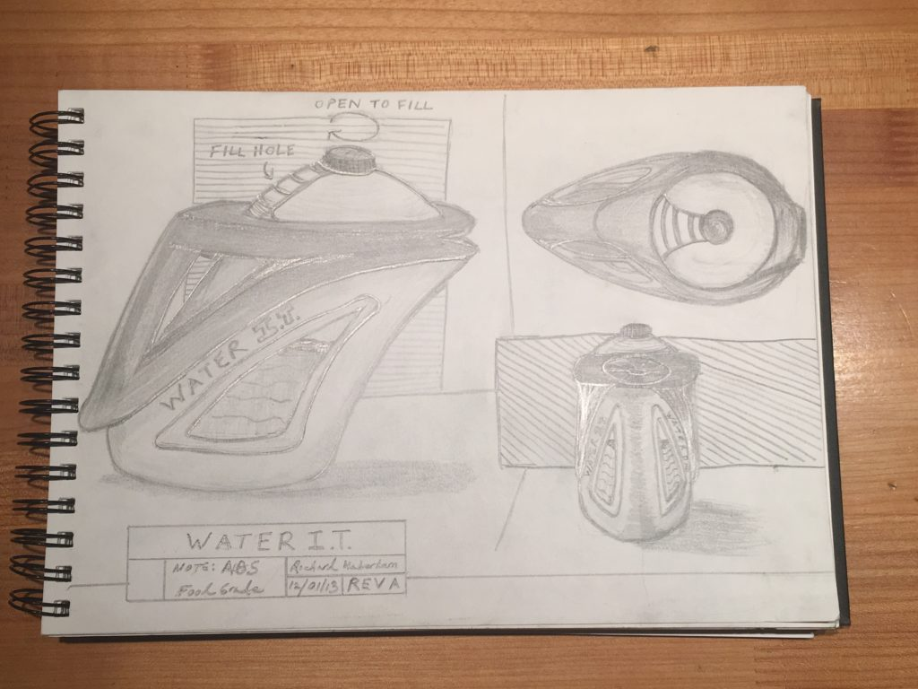 sketch of a water container designed by Richard Haberkern